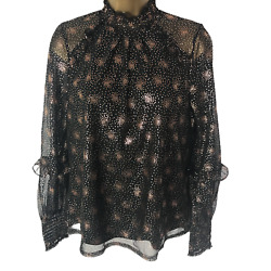 Oasis Ladies Top Blouse Sz Medium Black Gold Frilled Stretch Semi Sheer Net
