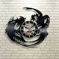 Fighting Roosters Gift Wall Clock Vinyl Record Art Retro Decorate Your Home $23.99