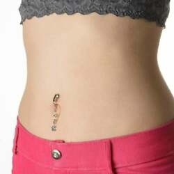 Clear Teardrop Crystal and Star Clip On Fake Belly Ring Cheater Navel Piercing $13.00