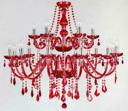 Red Crystal Bedroom Lighting Chandelier Living Room Pendant Lights Ceiling Lamp $253.00