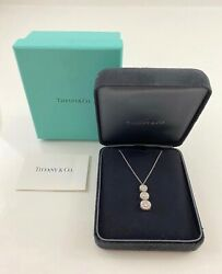 Tiffany and Co Circlet Triple Drop Diamond and Platinum Pendant Necklace