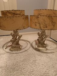Vtg Atomic 1950s Pair Of Lamps Chalkware Mid Century with Fiberglass Shades $179.00