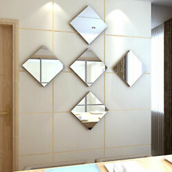 32X Mirror Tiles Self Adhesive Back Square Bathroom Decor Wall Stickers Mosaic $12.98