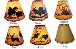 4quot; x 9quot; x 7quot; RUSTIC LAMP SHADE Wildlife Woods Scene Western Cabin Lodge Clip on $24.95