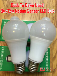 IndoorOutdoor Motion Sensor Light Bulb Motion Activated LED Dusk to Dawn 9W 12W $7.99