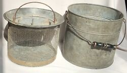 Antique Metal Fishing Live Bait Minnow Bucket 2 Piece With Wooden Handle Vintage $225.00