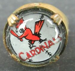 VINTAGE 1954 BASEBALL GLASS DOME GUMBALL MACHINE RING ST. LOUIS CARDINALS
