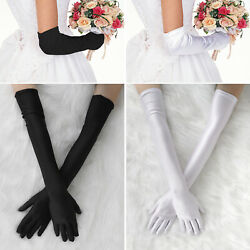 Women#x27;s Satin Long Gloves Opera Wedding Bridal Evening Party Prom Costume Glove $6.48