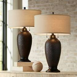 Modern Table Lamps Set of 2 Hammered Oiled Bronze for Living Room Family Bedroom $119.99