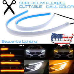 2x 60CM LED DRL Turn Signal Light Strip Amber Sequential Switchback Turn Signal $12.99