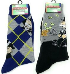 Hasbro 💵 Monopoly 💰 Mens Novelty Long ARGYLE amp; MONEY CREW SOCKS Size 6 12 $6.00