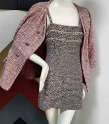 CHANEL £4350 2013 13P Spring Pink Tweed Sun Dress Fantasy Size 38 40 42
