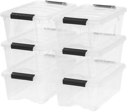 Stackable Pull Storage Plastic Bin Container W Lid Set 12 Quart 6 Box Clothing $41.47