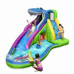Inflatable Water-Slide Shark Bounce House Wet & Dry Playground Sets Splash Pool
