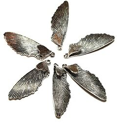 6 Antique Silver Tone Tibetan Style Angel Wing Charms Jewellery Making $8.03