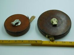 Two Leather Clad Engineer's Measuring Tapes. 50' Lufkin & 100' Chesterman