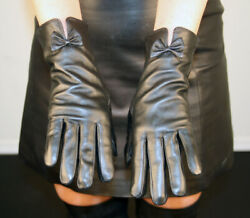 Brand New Black Lambskin Leather Gloves With Leather Bow Tie $19.99