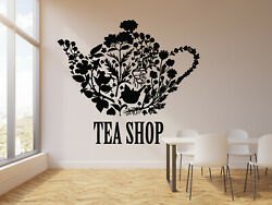 Vinyl Wall Decal Tea Shop Teapot Floral Patterns Kitchen Decor Stickers g2959 $48.99