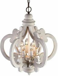Vintage Distressed White Weathered Woodenamp;Metal Chandelier with 6 Candle Lights $244.39