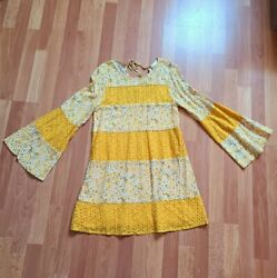 Love riche yellow boho bell sleeve Floral Prarie mini dress new Size Small  $28.00