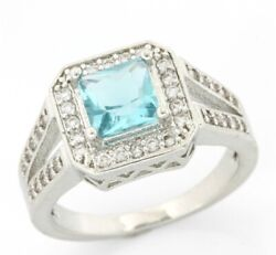 Fine Jewelry Brass with 14 Gold Overlay Blue amp; White Topaz Ring Size 8 $129.99