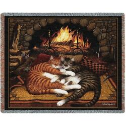 New Cat Cats Woven Cotton Afghan Gift Throw Blanket Wysocki Burned Out Fireplace $46.01