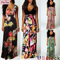 Women#x27;s Summer Boho Floral Long Dress Holiday Evening Party Beach Maxi Sundress $11.26