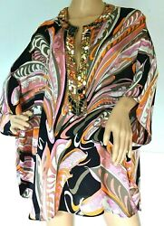 Emilio Pucci Embellished Silk Mini Kaftan Swim Coverup Dress IT 38 40 42 46