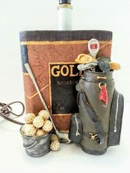 RARE HEAVY GOLFER'S LAMP w GOLF BALLS BAG CLUBS & BOOK MAN CAVE SHE SHED