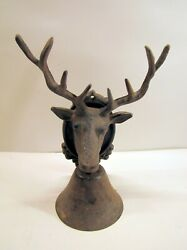 Moose Elk Animal Head Bell With Antlers Farm House Rustic Wall Mount Cast Iron  $38.00