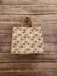 Barneys New York Canvas Hand Bag Straw Handle Tote Purse Carry All 11