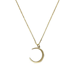 S925 Sterling Silver Gold Silver Tone Crescent Moon Pendant Necklaces
