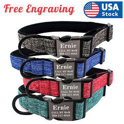 Personalized Dog Collar Canvas Buckle Engraved ID Name Custom SML $8.98