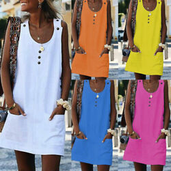 Women Summer Sleeveless Mini Dress Casual Beach Holiday Evening Party Sundress $16.89