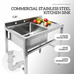 1 Compartment Stainless Steel Commercial Utility Sink Kitchen Sink W Drain Board $251.99