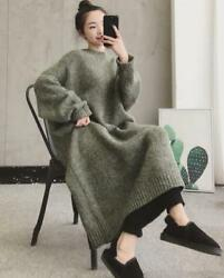 Womens Thicken Faux Fur Round Neck Knitted Sweater Dress Warm Long Blouses $63.99