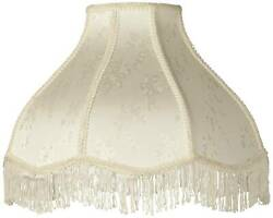 Creme Scallop Lamp Shade Fringe Harp Included 6x17x12x11 Spider Lamps Plus $49.99