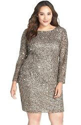 NEW Adrianna Papell Embellished Scoop Back Cocktail Dress Lead SZ 22W #N337 $99.99