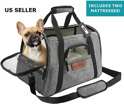 Pet Carrier Bag Travel Case Airline Approved Soft Sided Comfort 2 Mattresses $21.40