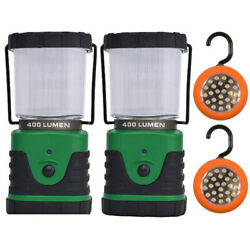Camping Light Set with Two LED Lanterns and Two LED Tent Hook Lights $24.99