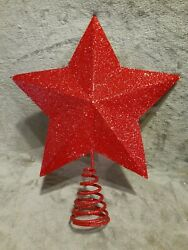 RED Tree Topper Star Christmas Decoration Glitter $12.00