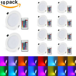 1 10X 10W RGB LED Panel Light Dimmable Recessed Ceiling Downlight Colorful Lamp $85.49