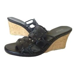 a.n.a Black Cork Wedge Heels With Ornate Cutout Leather Open Toe Sz 9M $15.00