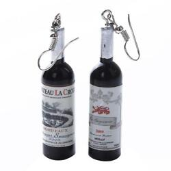Women Novelty Bottle Wine Bottle Glass Drink Dangle Long Earrings Jewelry Q $1.59