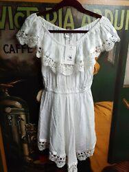 Sabo Skirt Dress White Cotton Lace Trim 10 NWT $35.00