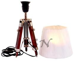 Collectible Nautical Floor Shade Light Lamp Brown Wooden Stand Decor Lamp $129.00