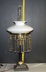 Antique Student Lamp Crystal Marble Colonial Prisms Astral Design Colonial $225.00