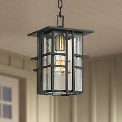 Modern Outdoor Ceiling Light Hanging Black 12 1 2quot; Seedy Glass Porch Patio Deck