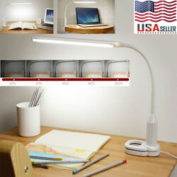LED Clamp Desk Lamp Sensor Control Protect Eye Stepless Bendable Dimmable Light $12.99