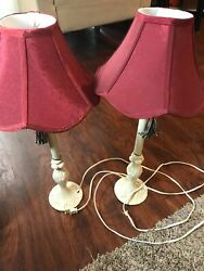 Set of 2 Ivory Metal Buffet Table Lamps Vintage Style Decorative Shades amp; Tassel $49.99